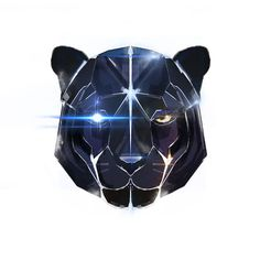 Geometric black panther head wall art. by SummonTheShaman on Etsy