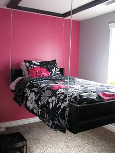 Embracing the Wall Hanging Bed Design for a Creative Bedroom - Decor Around The World Teenage Girl Bedrooms, Girls Bedroom, Bedroom Decor, Bedroom Themes, Bedroom Colors, Bedroom Furniture, Furniture Ideas, Bedroom Ideas For Girls, Cool Bedroom Ideas