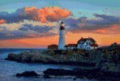 Oregon Lighthouse Sunset landscape Cross Stitch pattern PDF - Instant Download! by PenumbraCharts on Etsy