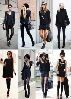 How to Wear Head to Toe Black Anna Wintour swore never to be seen wearing black form head to toe, but her BFF Vera Wang plays by none of her rules. Edgy Outfits, Mode Outfits, Fall Outfits, Fashion Outfits, Womens Fashion, Black Outfits, Look Fashion, Autumn Fashion, Super Moda