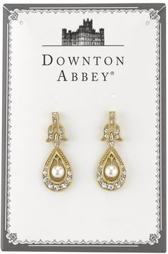 Downton Abbey® Boxed Gold-Tone Crystal and Simulated Pearl Drop Earrings