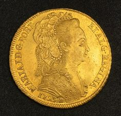 Brazil 6400 Reis Gold Coin, Queen Maria of Portuguese Gold Half Johanna     Brazilian coins   Brazil Gold Coins 6400 Reis Gold Coin , Mar...