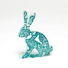Turquoise Paisley Hare Glass Sculpture
