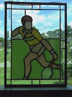 Great Large Tennis Stained Glass Panel Suncatcher Racquetball Athlete | eBay