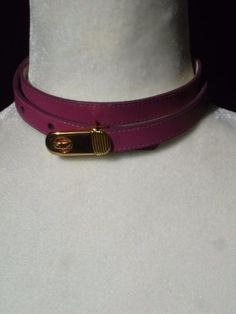 PIERRE CARDIN Vintage Pink Leather Narrow Belt S Small 2 4 #vintagefashion #Luxehunter73