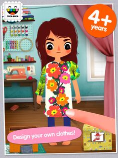 Toca Tailor ($2.99) Design & style your own clothes! With Toca Tailor, you can create, combine and style fun outfits for four different characters. Choose between lots of clothing designs, then tailor them by adjusting hems and lengthening sleeves.    Mix and match colours, prints and fabrics – or use the built-in fabric camera to create your very own unique patterns from things around you. You can also use pictures from your device's Camera Roll! Then add buttons, pocket