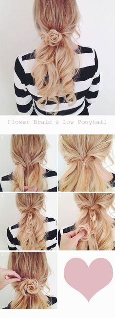Flower braid and low pony. For medium to long hair lengths.