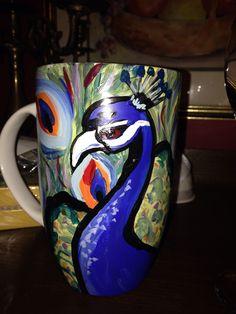 Hand painted peacock mug