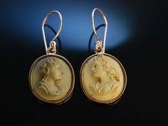Exquisite Lava Kameen! Gemmen Ohrringe Cameo Earrings Silber rosévergoldet Neapel um 1830
