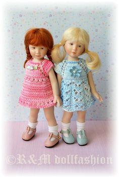 OOAK Hand Knit Set Pink Blue 2 Dresses Maciak Effner Riley Kish 7 5 8 Dolls | eBay