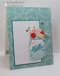 You can see more information and free instructions for creating this card on my blog here:  https://stampwithamyk.com/2016/06/06/stampin-up-jar-of-love-hello/
