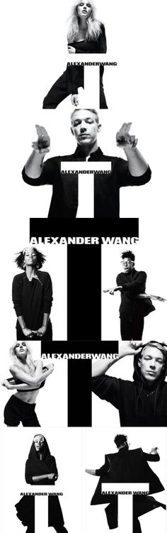 Alexander Wang ad campaign: the typographical solutions to add to the effective imagery works very well, less than a fashion, but more as an editorial spread of a magazine
