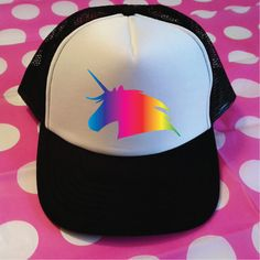 1ec6d1e7 Rainbow Unicorn Trucker Hat. Unicorn Hat. Vacation Hat. Beach Hat. Surf Hat