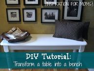 Transform a table into a bench with this tutorial from Laura @Tania for Moms