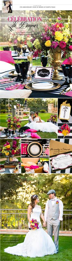 Celebration de L'amour Part 1 - a French inspired picnic reception by Tami Winn Events at Four Seasons Dallas. Photos by Tracy Autem Photography. #wedding #tabletop #decor #editorial #french #whimsical #bold #cheery #picnic