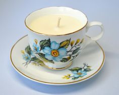 Upcycled Teacup Candle - Sadler Wellington Blue Floral - Soy Wax Vanilla Candle by FinerySoaps on Etsy