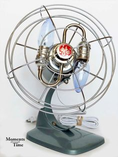 Robust Vintage General Electric, American Made, Two Bulb RePurposed Table Fan Light, Sky Blue with Polished Nickel, New Electrical Cord on Etsy, $130.00