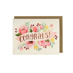 "Pink Floral Congrats Card - A congratulation card featuring an original floral watercolor illustration on a vintage paper background and hand lettering by me, Shannon Chen. 4.25""x5.5"" folded card, bla"