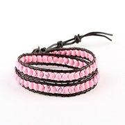 Lucky Pink Turquoise 2 Wrap Bracelet on Coffee Leather