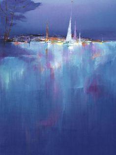 marina azzurra by aldo gerosa Beach Landscape, Abstract Landscape, Landscape Paintings, Landscapes, Modern Paintings, Abstract Oil, Nocturne, Illustrations, Illustration Art