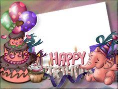 ® Colección de Gifs ®: MARCOS PARA FOTOS DE CUMPLEAÑOS Happy 1st Birthday Wishes, Happy Birthday Frame, Happy Birthday Photos, Birthday Blessings, Birthday Frames, Happy 1st Birthdays, Birthday Pictures, Birthday Greetings, Birthday Cards