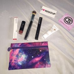 Glam bag Colour pop ultra matte lipstick in Chilly Chilli. (Swatched) Bh cosmetics lipstick to match chilly chilly (Swatched) concealer brush (brand new) the bomb cosmetics eyeliner in black (Swatched) and face mask (brand new) Colourpop Makeup