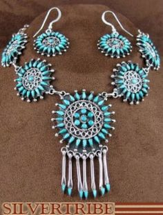 Turquoise Link Necklace   Silver Hook Earrings   Sterling Silver Jewelry - $395.99