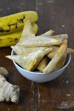 Samosas de plátano, jengibre y miel