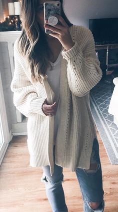 #winter #outfits women's white cardigan. Click To Shop This Look.