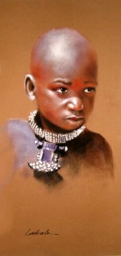 Enfant Himba African American Art, African Art, Africa Painting, Pastel Portraits, Painting Portraits, Pastel Paintings, Realistic Sketch, Pastel Crayons, Black Art Painting