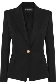 Black wool-twill Button fastening at front 100% wool; lining: 52% viscose; 48% cotton Dry clean