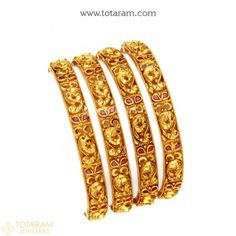 22K Gold 'Peacock' Bangles with Color Stones (Temple Jewellery) - Set of 4 (2 Pair) - 235-GBL1421 - Buy this Latest Indian Gold Jewelry Design in 68.550 Grams for a low price of  $4,106.22 Jewelry Sets, Gold Jewelry, Women Jewelry, Indian Gold Jewellery Design, Jewelry Design, Gold Bangles For Women, Uncut Diamond, Diamond Bangle, Temple Jewellery