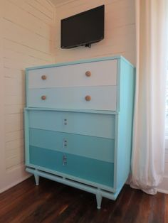 A great way to revive an old mid-century modern dresser as seen at Very Very Vicky: Razzle Dazzle with a Beachy Vibe!