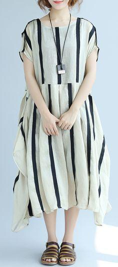 fashion striped long linen dress oversize patchwork cotton dresses women  sleeveless traveling clothing2 linendress  b9de45b8e93