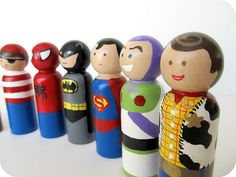 Wooden peg dolls. Let the kids make their own and they will have a blast. give them a bouncy ball and they can play mini bowling