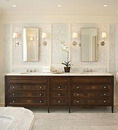 Dark vanity, white bathroom. Light vs. dark. Building a new home blog.