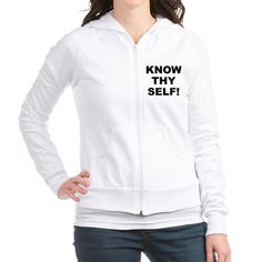 (FRONT) Women's light color white fitted zip hooded sweatshirt with Know Thy Self theme. The Know Thy Self phrase is a spiritual esoteric saying reminding the individual that inner truth and awareness is important to understanding our existence. Available in small, medium, large, x-large size for only $35.99. Go to the link to purchase the product and to see other options – http://www.cafepress.com/stkts