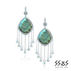 Nina Runsdorf SS Labradorite slice earrings