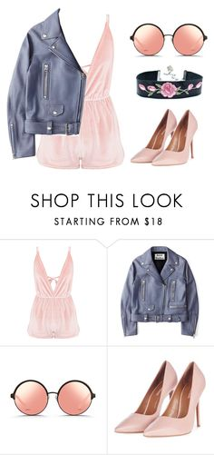 """""""Such a mess when I'm in your presence."""" by wavescent on Polyvore featuring mode, Acne Studios, Matthew Williamson, Topshop, Pink, Leather, velvet, jacket en playsuit"""