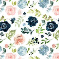 Flower Wallpaper, Pattern Wallpaper, Nature Collage, Apple Watch Wallpaper, Pretty Wallpapers, Floral Fabric, Floral Prints, Girl Nursery, Floral Watercolor