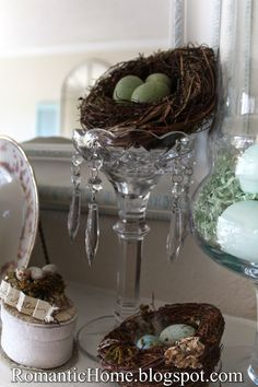 My Romantic Home: Spring Mantel - Show and Tell Friday