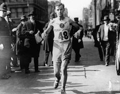 MARATHON: Arthur Roth crosses the finish line to win the 1916 Boston Marathon.