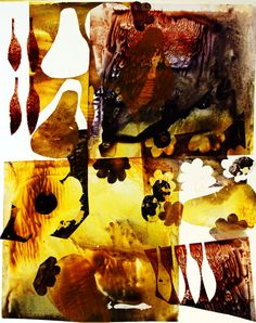 TITLE ~pear and olive abstract   bright and bold yellow-green and mahogany brown organic forms float in white background. giclee print of original acrylic collage painting.