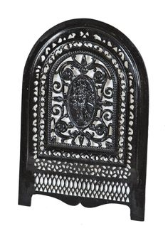 original late 1860's highly ornate american victorian era residential fireplace arch top summer cover with full-figured embossed woman