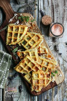 """Easy recipe for Flourless Potato Waffles -- for more recipes, visit my blog """"Sandra's Easy Cooking"""" ( http://www.sandraseasycooking.com/ )"""