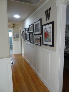 hallway wainscoting, board and batten wainscoting, hallway makeover,Benjamin Moore Montgomery Tan, Benjamin Moore White Dove, Benjamin Moore Advance paint, changing door trim, craftsman style door trim