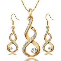 Yoursfs Jewelry Twisted Style Setting Little Crystal Wedding Earring and Necklace Rhinestone Set Gifts 18k Rose Gold Plated *** For more information, visit image link. (This is an affiliate link and I receive a commission for the sales)