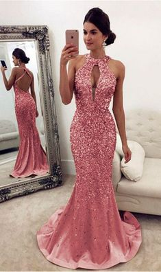 Luxurious Crystal Beaded Prom Dresses,Halter Open Back Mermaid #prom #promdress #dress #eveningdress #evening #fashion #love #shopping #art #dress #women #mermaid #SEXY #SexyGirl #PromDresses