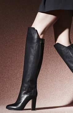 A generous stacked heel elevates a statement-making over-the-knee boot crafted from supple pebbled leather for a modern, luxe fall look. High Heel Boots, Heeled Boots, Bootie Boots, Boot Socks, Ankle Boots, Cute Boots, Sexy Boots, Over The Knee Boot Outfit, Zapatos Shoes