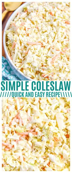 This simple coleslaw recipe is the perfect party food for your parties! You could even use our coleslaw dressing recipe for store-bought coleslaw mix. via @CourtneysSweets